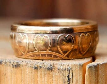 One Day at a Time Heart Coin Ring