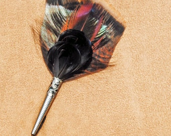 F010 Feather pin, hat pin, FREE US SHIPPING