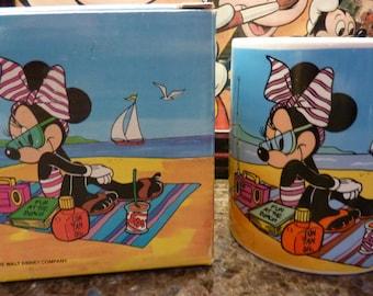 Vintage 1986 Applause Walt Disney Minnie Mickey Mouse Mug on Beach