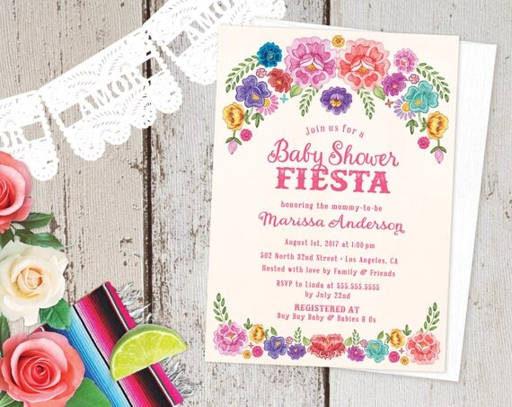 Mexican fiesta theme baby shower invitations spanish floral like this item filmwisefo Images