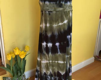 Tie dye MAXI skirt, FOLD OVER maxi skirt, Rayon jersey/spandex maxi skirt, Hand dyed skirt