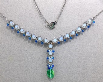 Captivation Opalite & Glass in Chain Maille Necklace Jewelry