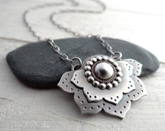 Lotus Flower Pendant // sterling silver flower // modern zen jewelry // yoga inspired metal smith pendant (3754)