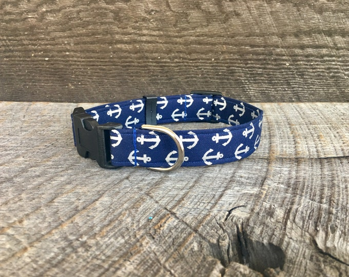 Silver Anchor Dog Collar