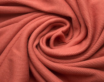 Burnt Orange 61'' Medium-Weight Cotton 1x1 Rib Knit Fabric Style 3137