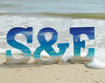 Hand Painted  Wedding Letters Beach Letters Initials