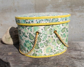 Vintage Oval Sewing Box Basket, Cardboard and Fabric Sewing Box, Sewing Basket, Green Paisley, Green Flowers