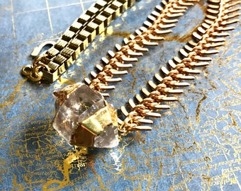 Double Terminated Clear Quartz with Fishbone and Box Chain Necklace