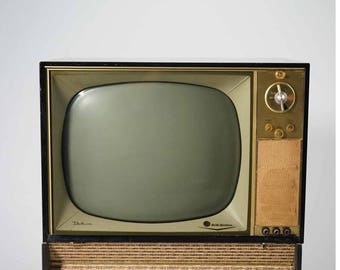 Vintage Back and Gold RCA Victor Television with Swiveling Base, ca 1950s
