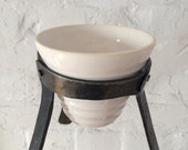 coffee pour over -drip coffee - ceramic coffee maker with forged iron stand