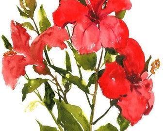 Hibiscus, Red Flowers, Original watercolor painting, 12 X 15in, red tropical floral wall art