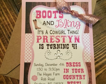 Cowgirl Birthday Party Invitations w/ envelopes - Set of 10