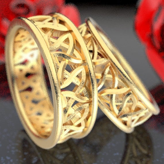 RESERVED FOR Janet, 4 Paymenst for Celtic Wedding Ring Set With Cut-Through Trinity Knot Design in 14K Gold, Made in Your Size CR-37