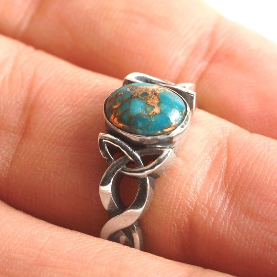 Turquoise Engagement Ring, Sterling Silver Celtic Knot Ring, Turquoise Celtic Ring, Turquoise Wedding Ring in Your Size CR-1131