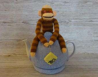 Knitted Tea Cozy Cosie Light and Dark Brown Striped Sock Monkey on Blue Shabby Chic