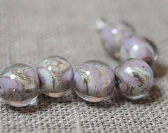 Lilac Glass Ornament Lampwork Beads Set Jewelry Beads Lamp Work Glass Bead