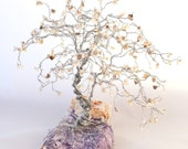 Large White Opal Bonsai on Purple Opal Wire Gem Tree Sculpture / Tree of Life / home decor, yoga gifts, xmas gifts