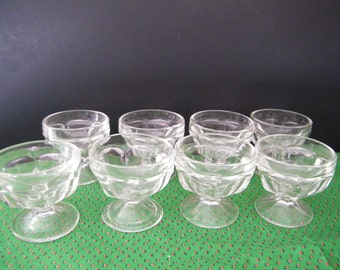 Dessert Cup or sherbets, Footed glass pudding dishes, Mid Century kitchen 8 glass dishes, 2 are Federal Glass, others unmarked,  jello