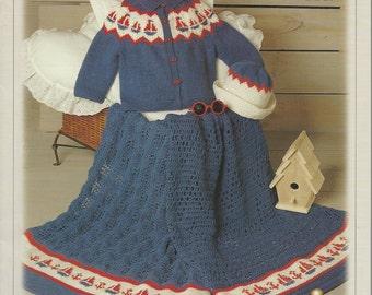 Baby Pattern Leaflet - BABY DENIMS -  Knitting & Crochet Patterns, SAILBOAT Cardigan and Hat, Blanket - Sailor Sailboat Graph - Nauticaul