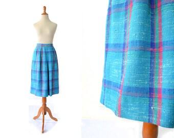 Turquoise Skirt, 1960s Skirt, 60s Skirt, Plaid Skirt, preppy clothing, schoolgirl skirt, womens skirt, womens clothing, vintage clothing