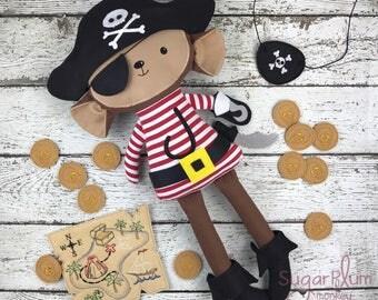 Cloth Monkey Pirate - Fabric Doll - Dress Up Doll - Handmade Doll - Rag Doll - Room Decor - Heirloom Doll