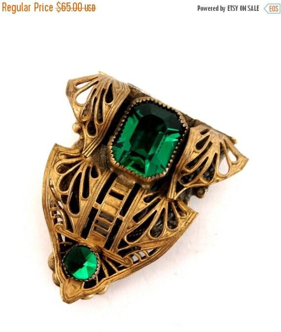 Green Art Deco Dress Clip Emerald Green Glass By