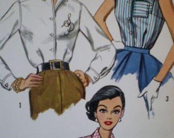 Vintage Simplicity 1950s  Misses and Womens  Blouse and Transfer Sewing Pattern #2195 Size 14 Bust 34