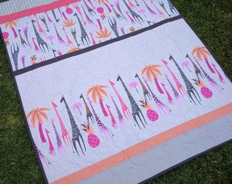 Cot quilt , crib quilt, baby quilt, toddler quilt, lap quilt, Giraffes in pinks and oranges