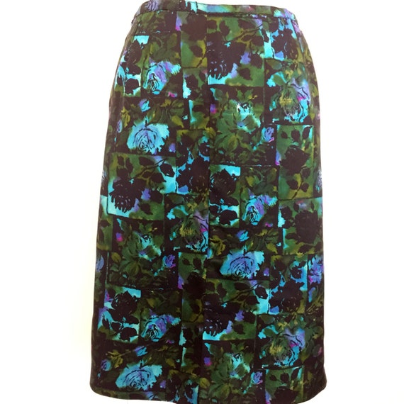 Vintage skirt 1950s rose print acetate pencil skirt UK 12 blue midcentury print handmade