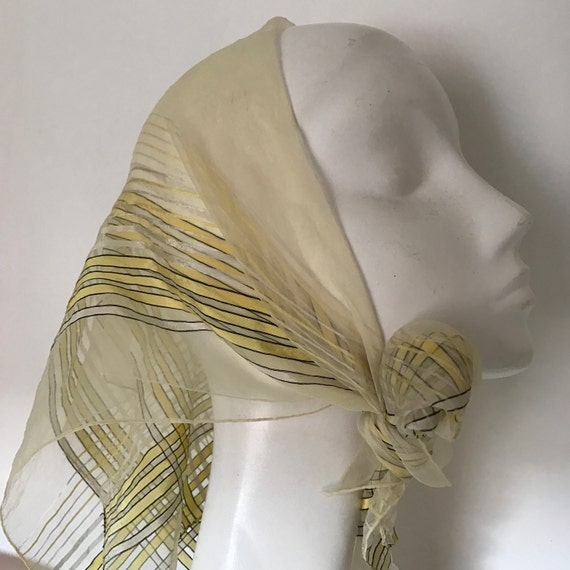 1940s scarf striped nylon chiffon and satin lemon yellow black stripes sheer georgette neck tie evening scarf 40s stripey silky square
