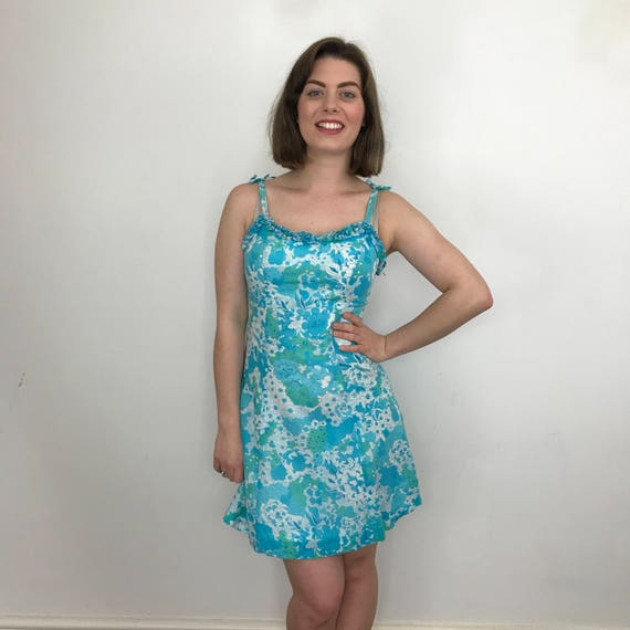 1960s mini dress psychedelic floral print short shimmy gogo UK 8 Mod 60s scooter girl Twiggy St Michael blue