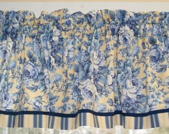 """Yellow Blue Floral Marcus Brothers Toile Valance 17"""" x 44"""" Medium Wt Curtain Window Treatment"""