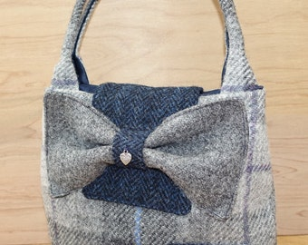Pale grey checked Harris Tweed small bucket bag with bow