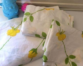 Vintage Yellow Rose Full Sheet Set|| Fitted, flat, & two Cases
