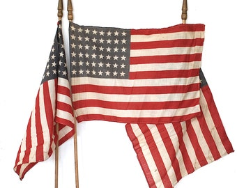 48 Star Flags - Vintage American Flags - Parade Flags - American Flag Decor - Old American Flags - Vintage US Flag - Patriotic Decorations