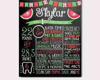 Watermelon Birthday Chalkboard | Watermelon Birthday Invitation | Watermelon Birthday Theme | Fruit Birthday Chalkboard