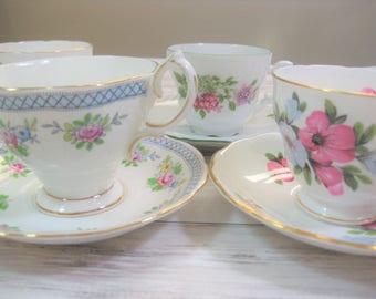 Bone China Tea Cups, Instant Collection, set of 4 Assorted English and Bavarian China Tea Cups and Saucers