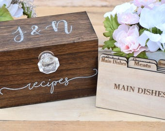 Recipe Box - Personalized Recipe Box - Housewarming Gift - Wedding Shower Decor - Wood Recipe Box - Mothers Day Gift - Christmas Gift