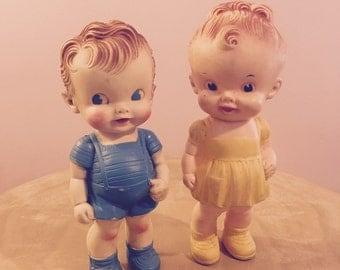 Pair of Ruth F. Newton Sun Rubber Squeak Toy Dolls