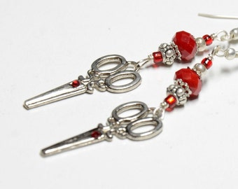 Red Crystal bead and silver Scissor charm Earrings
