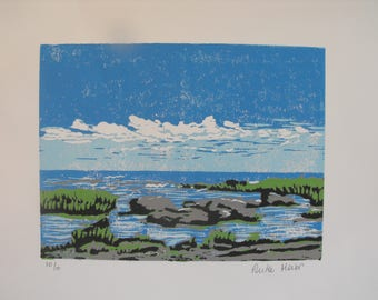 Original 5 colour linocut block print on white paper, relief print, Ipperwash Beach, Lake Huron
