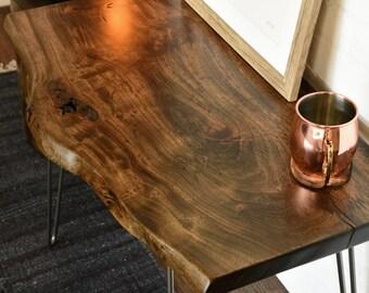 Live Edge Slab Rustic End Table