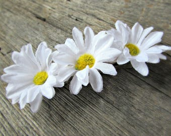 Daisy Barrette, Daisy Hair Barrette, White Flower Barrette, Large French Barrette, Hair Clip, Wedding Bridal Prom Hair Accessories