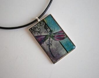 Dragon fly pendant - Dragon fly resin pendant - Art pendant - Art jewelry - Resin pendant