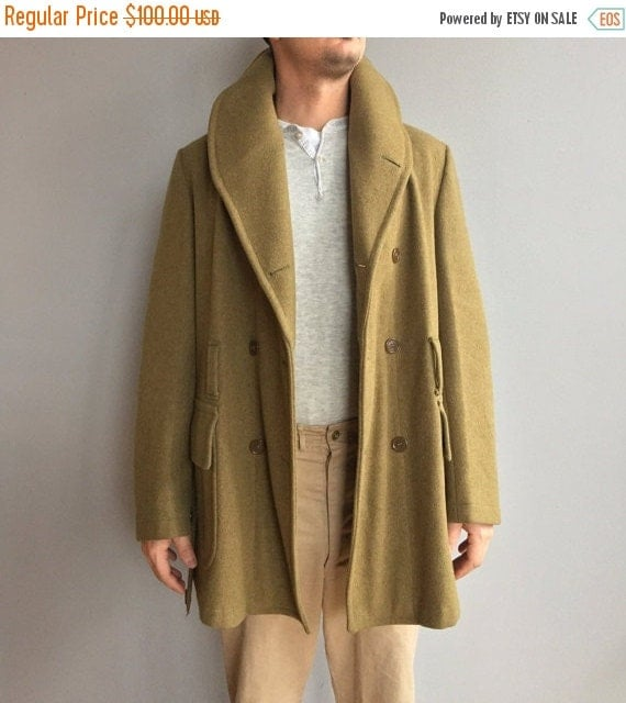 SALE WW2 Jeep Coat Olive Green double-breasted Wool Coat. Two Front Flap pockets. Shawl Collar.  Wool belt