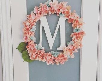 Monogram hydrangea floral wreath