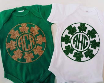 Monogram St Patty's onesie