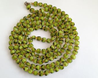 Vintage Long Length Green Glass Bead Necklace.