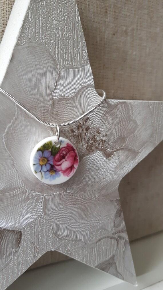 Unusual vintage broken china porcelain pendant
