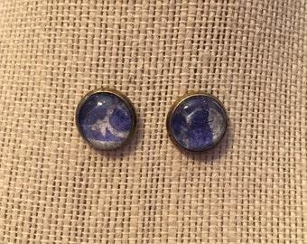 12mm Amethyst&White Swirls Stud Earrings